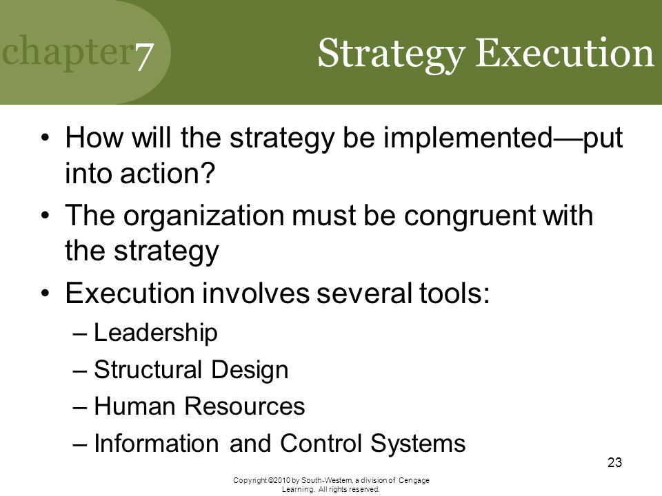 Strategy Execution How will the strategy be implemented—put into action The organization must be congruent with the strategy.