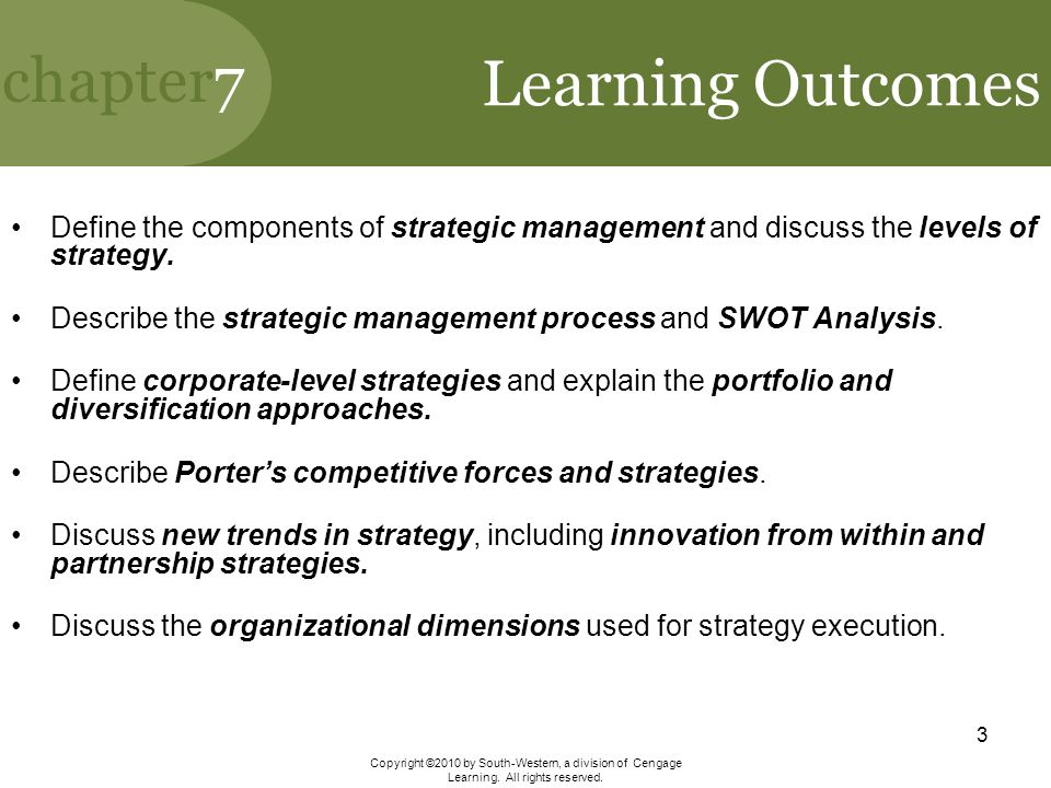 Learning Outcomes Define the components of strategic management and discuss the levels of strategy.