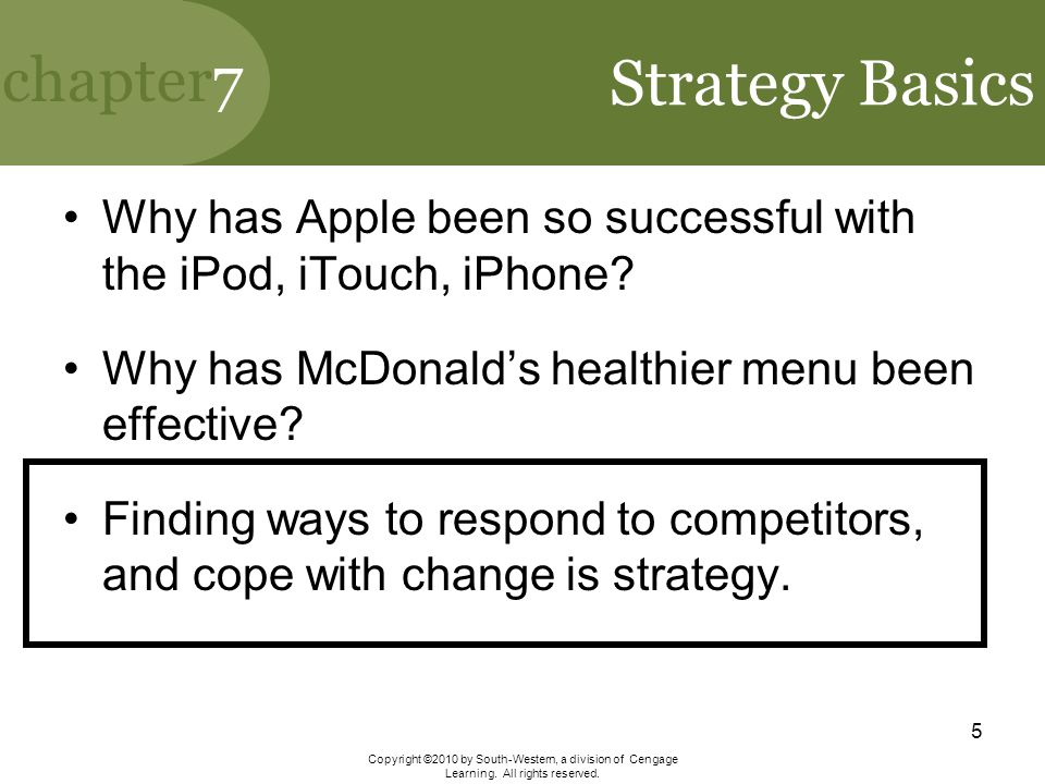 Strategy Basics Why has Apple been so successful with the iPod, iTouch, iPhone Why has McDonald's healthier menu been effective