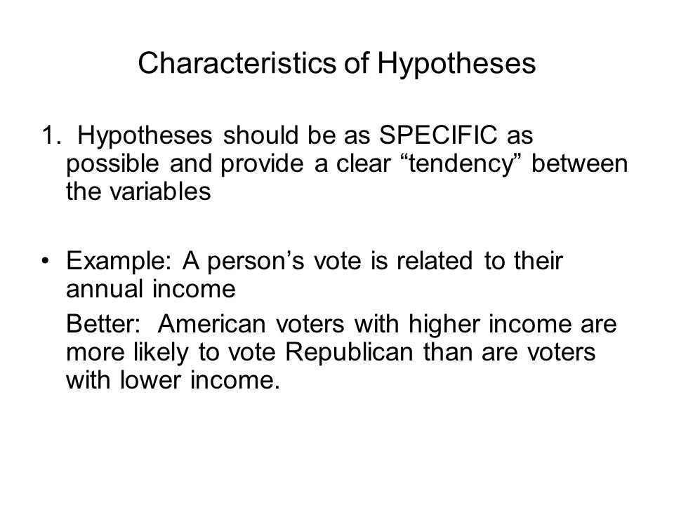 Characteristics of Hypotheses