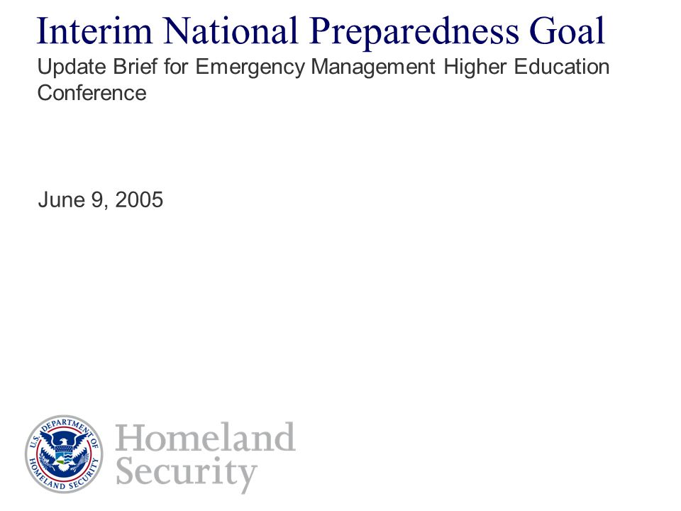 Interim National Preparedness Goal