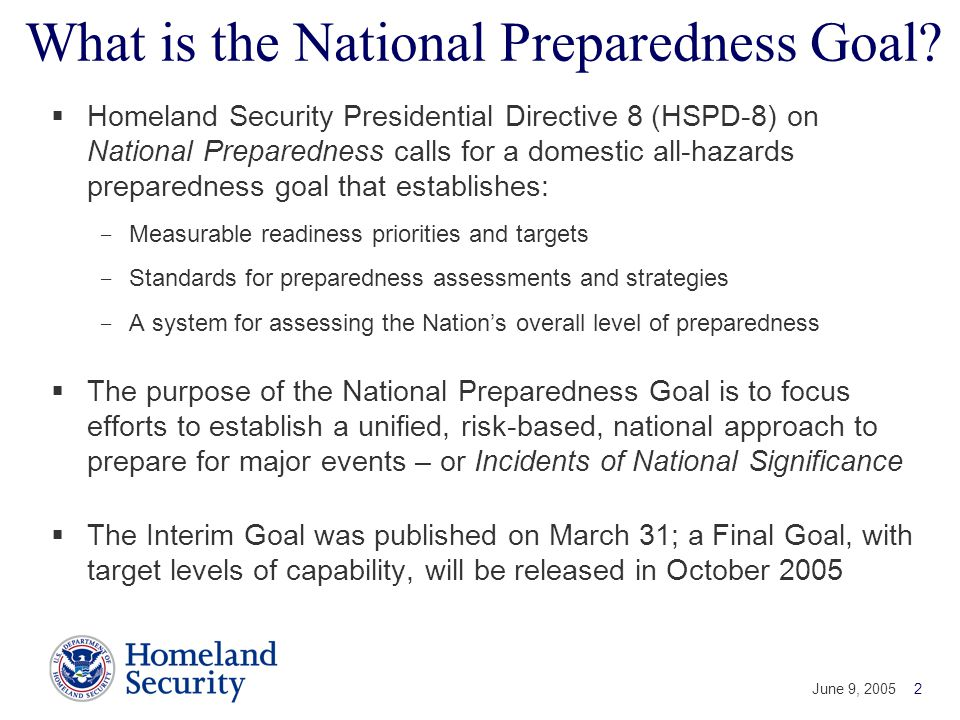 What is the National Preparedness Goal