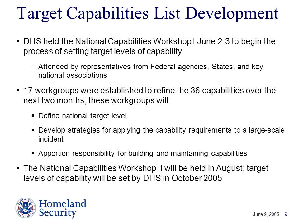 Target Capabilities List Development
