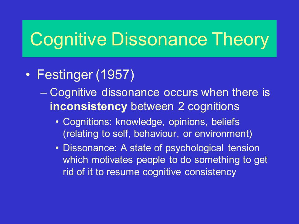 a study of theory extension cognitive dissonance The theory of cognitive dissonance [1] concentrates on creating knowledge about   this study makes a thorough analysis of the theory's application in   accordingly, the aim of this paper is to extend the literature on cognitive  dissonance by.