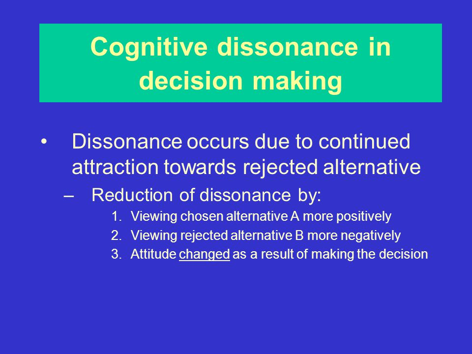 an analysis of cognitive dissonance It might be interesting to also see who are the target audience of the show a multivariate analysis of the audience might show them to be pretty similar to the interviewer i believe the interview was pandering but also was blinded by cognitive dissonance.
