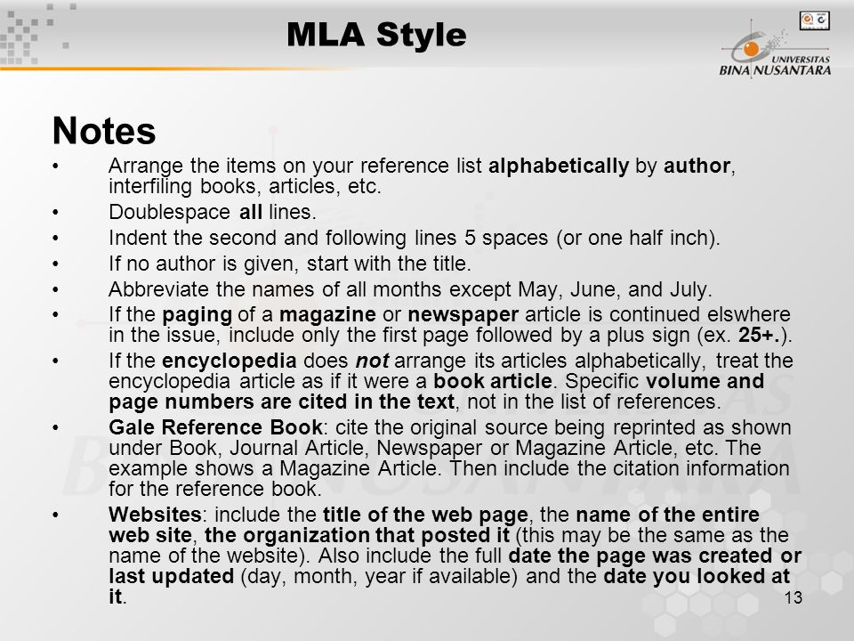 mla style reference page
