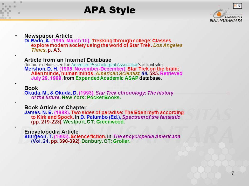 apa style for article