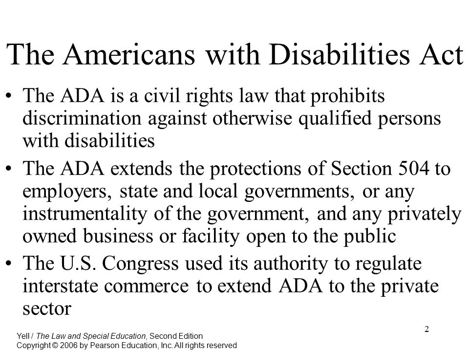 the federal americans with disabilities act The americans with disabilities act of 1990 (ada) prohibits discrimination and ensures equal opportunity and access for persons with disabilitiesthe federal transit administration works to.