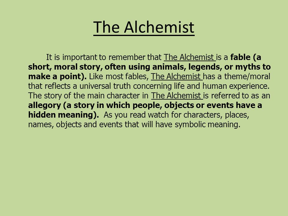 alchemist essay View test prep - alchemist essay final from history 332 at frankel jewish academy of metro curhan 1 sophie curhan mrs kahn 7th hour 16 april 2016 the alchemist essay dreams have no boundaries.