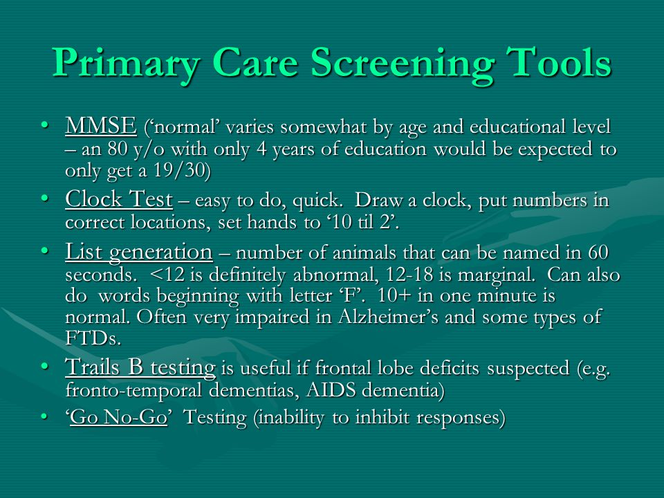 Primary Care Screening Tools