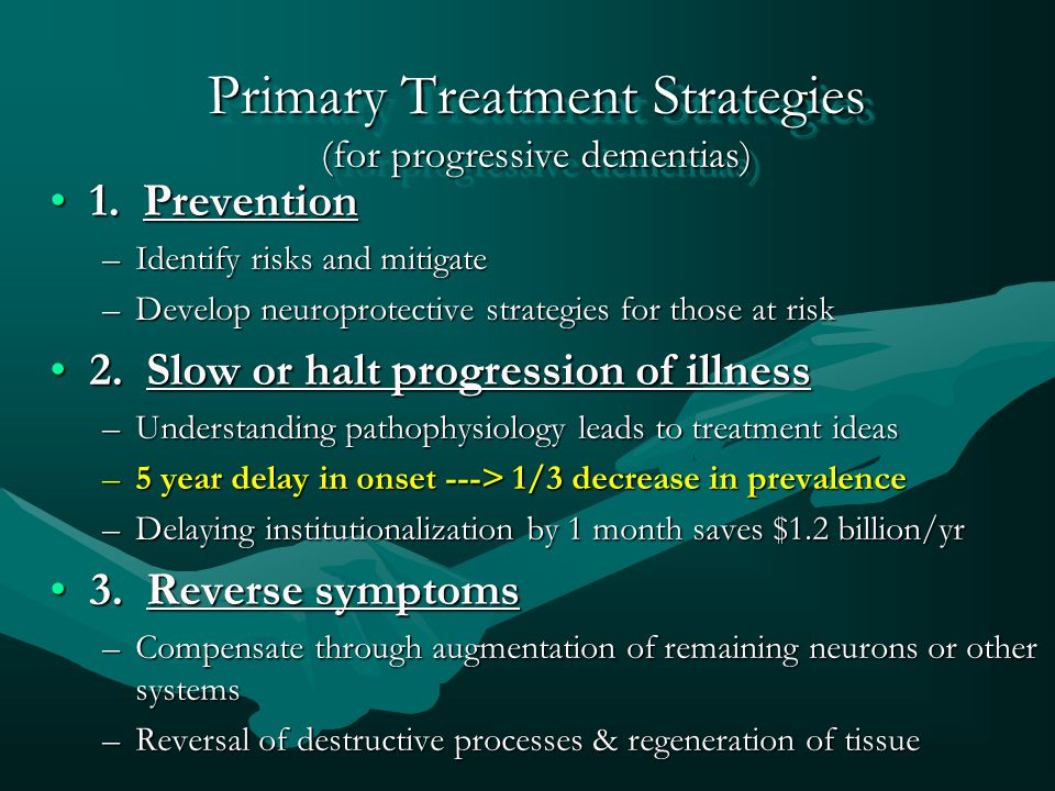 Primary Treatment Strategies (for progressive dementias)
