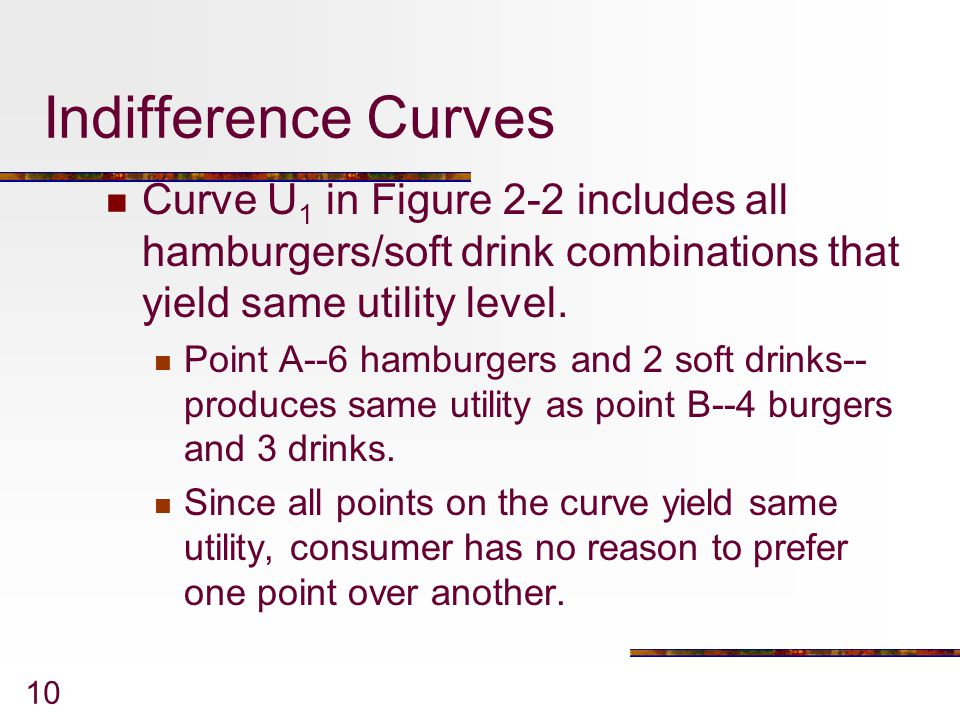 Indifference Curves Curve U1 in Figure 2-2 includes all hamburgers/soft drink combinations that yield same utility level.