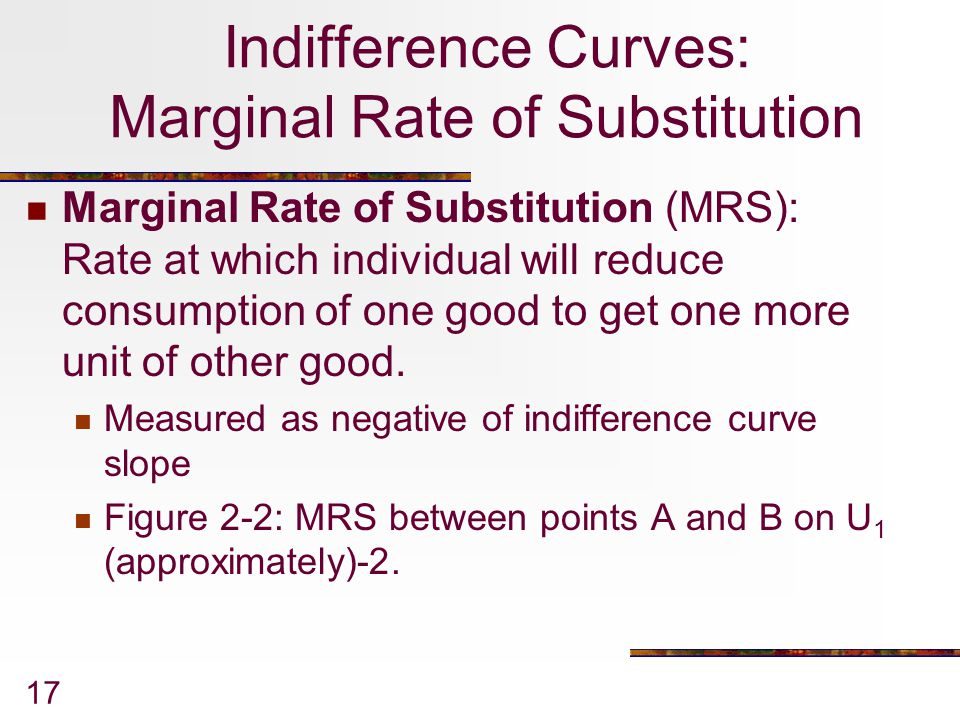 Indifference Curves: Marginal Rate of Substitution