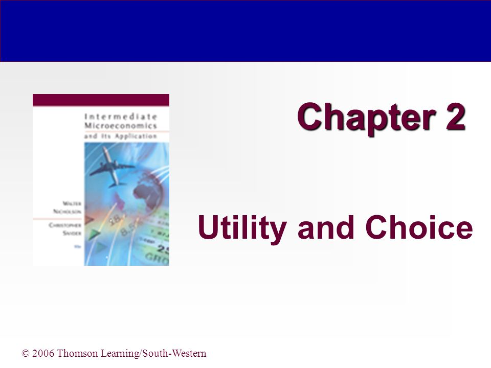 Chapter 2 Utility and Choice © 2006 Thomson Learning/South-Western