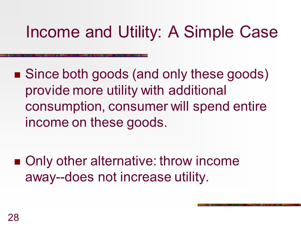 Income and Utility: A Simple Case