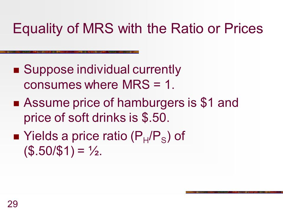 Equality of MRS with the Ratio or Prices