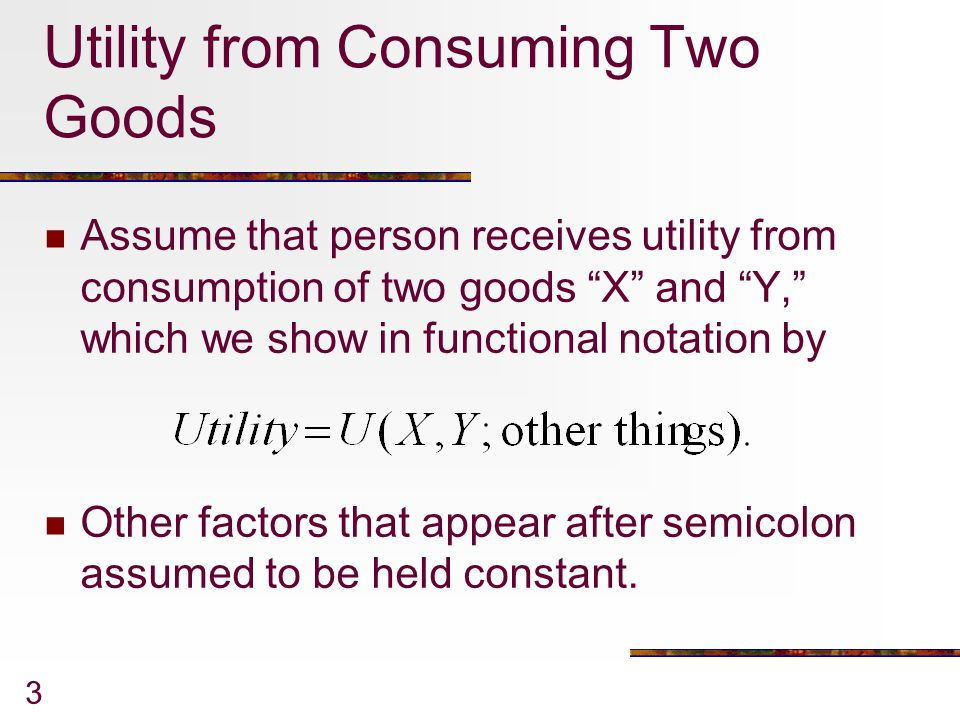 Utility from Consuming Two Goods