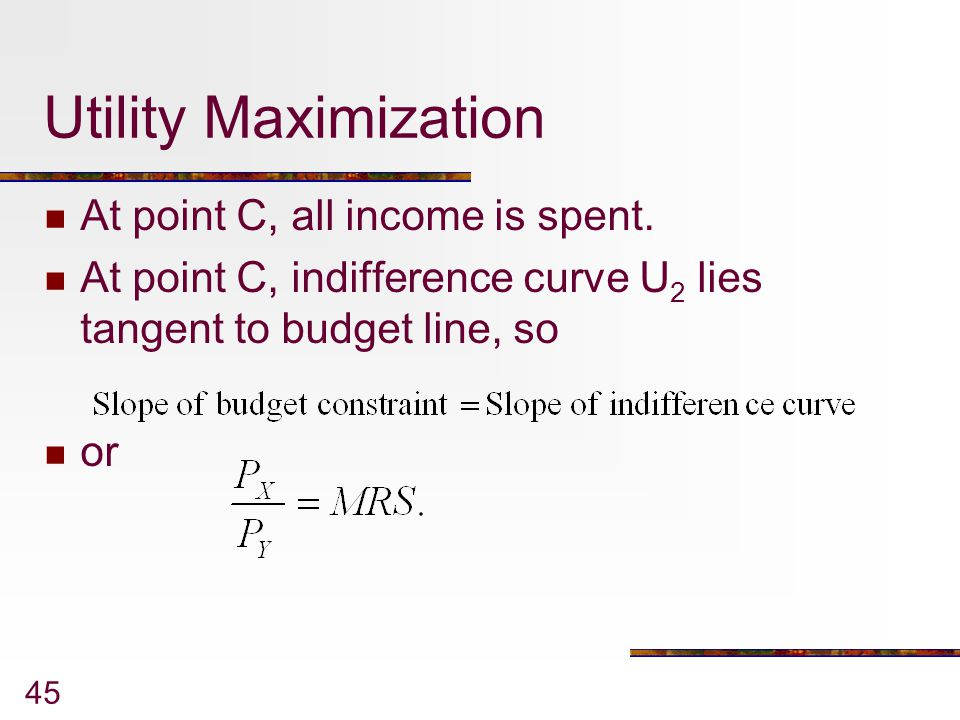 Utility Maximization At point C, all income is spent.