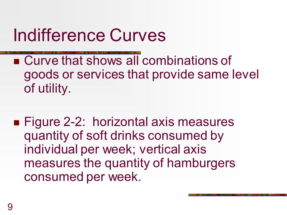 Indifference Curves Curve that shows all combinations of goods or services that provide same level of utility.