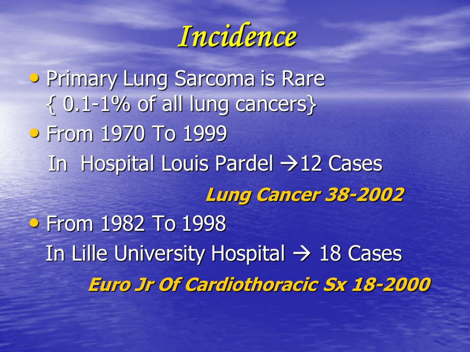 Incidence Primary Lung Sarcoma is Rare { 0.1-1% of all lung cancers}