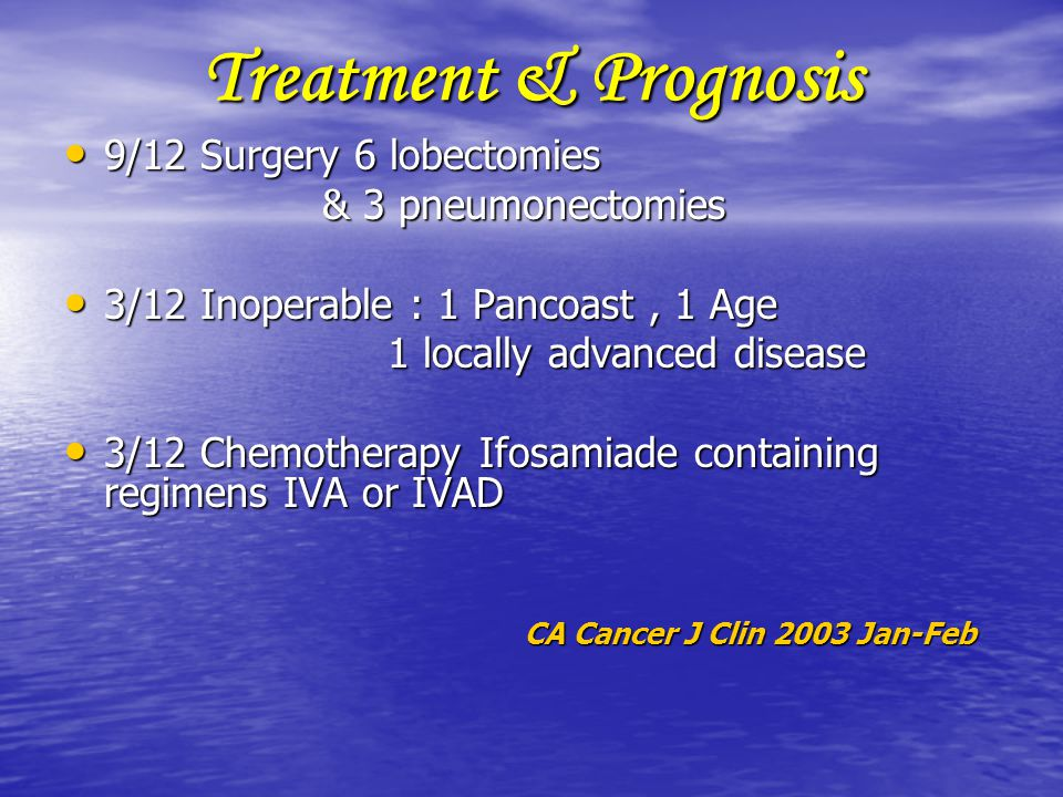 Treatment & Prognosis 9/12 Surgery 6 lobectomies & 3 pneumonectomies
