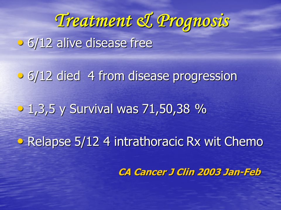 Treatment & Prognosis 6/12 alive disease free