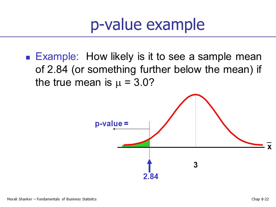 p-value example Example: How likely is it to see a sample mean of 2.84 (or something further below the mean) if the true mean is  = 3.0