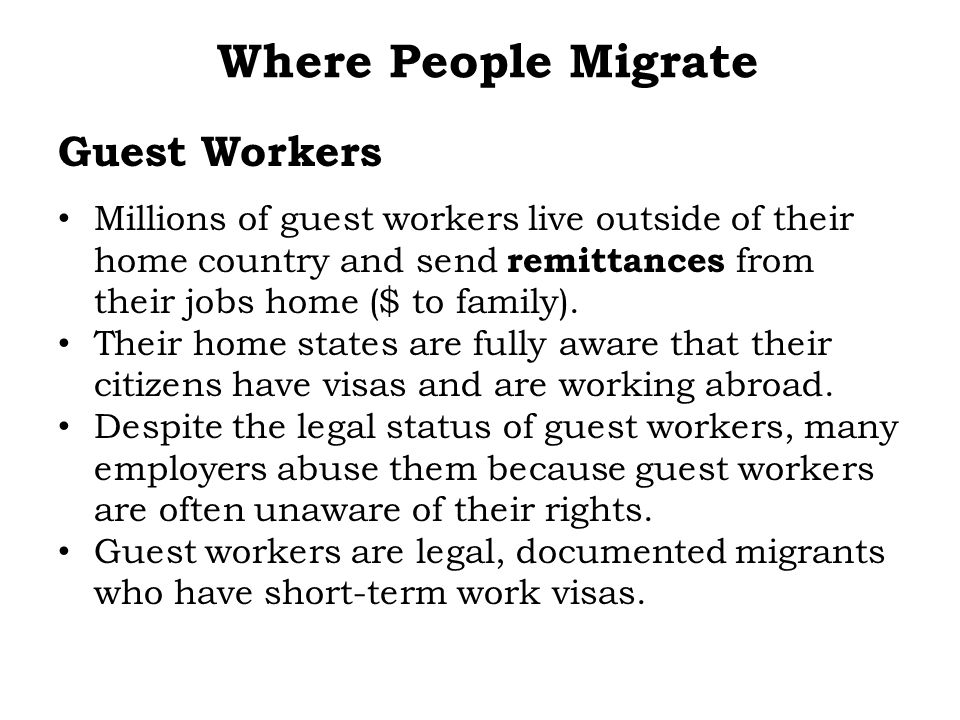 Where People Migrate Guest Workers