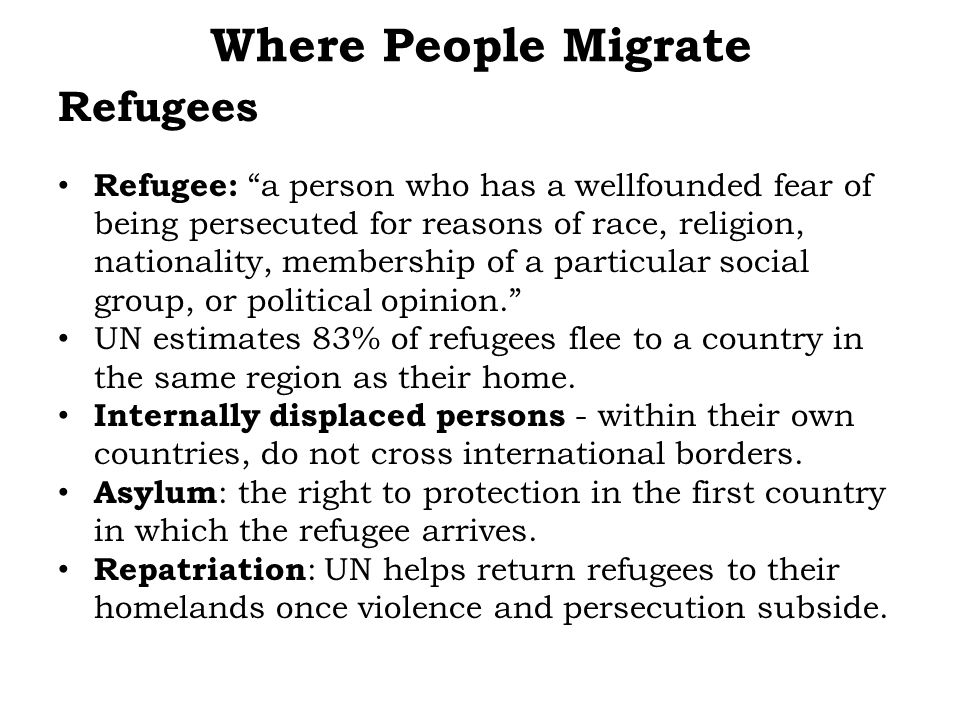 Where People Migrate Refugees