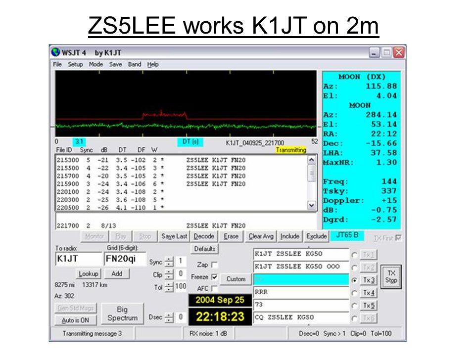 ZS5LEE works K1JT on 2m
