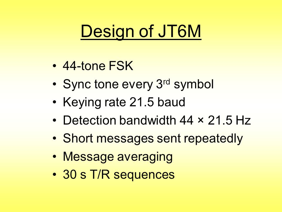 Design of JT6M 44-tone FSK Sync tone every 3rd symbol