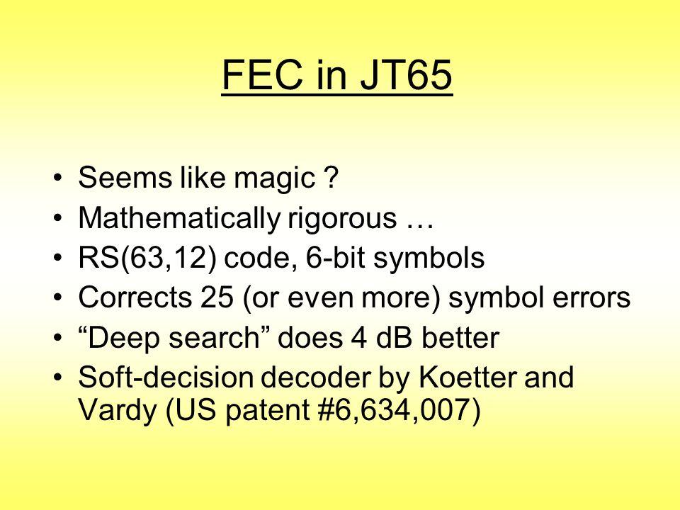 FEC in JT65 Seems like magic Mathematically rigorous …