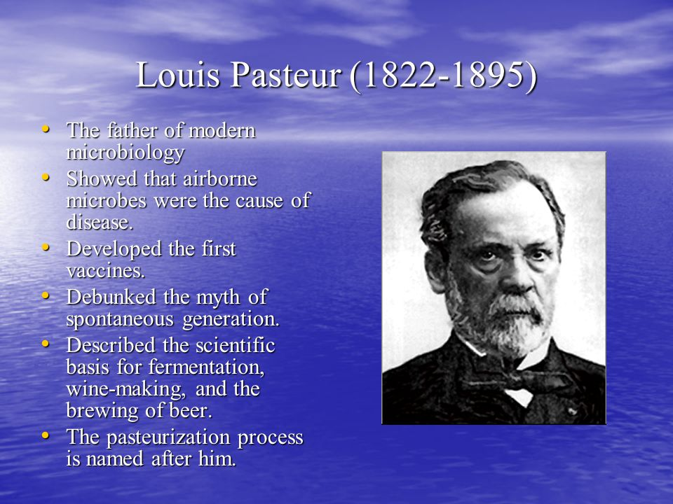 louis pasteur the father of microbiology Read more about louis pasteur: innovator who continues to inspire for this, he has been affectionately titled the father of microbiology louis pasteur was born on father of microbiology, hardy diagnostics, immunology, louis, louis pasteur, microbiology, pasteur.