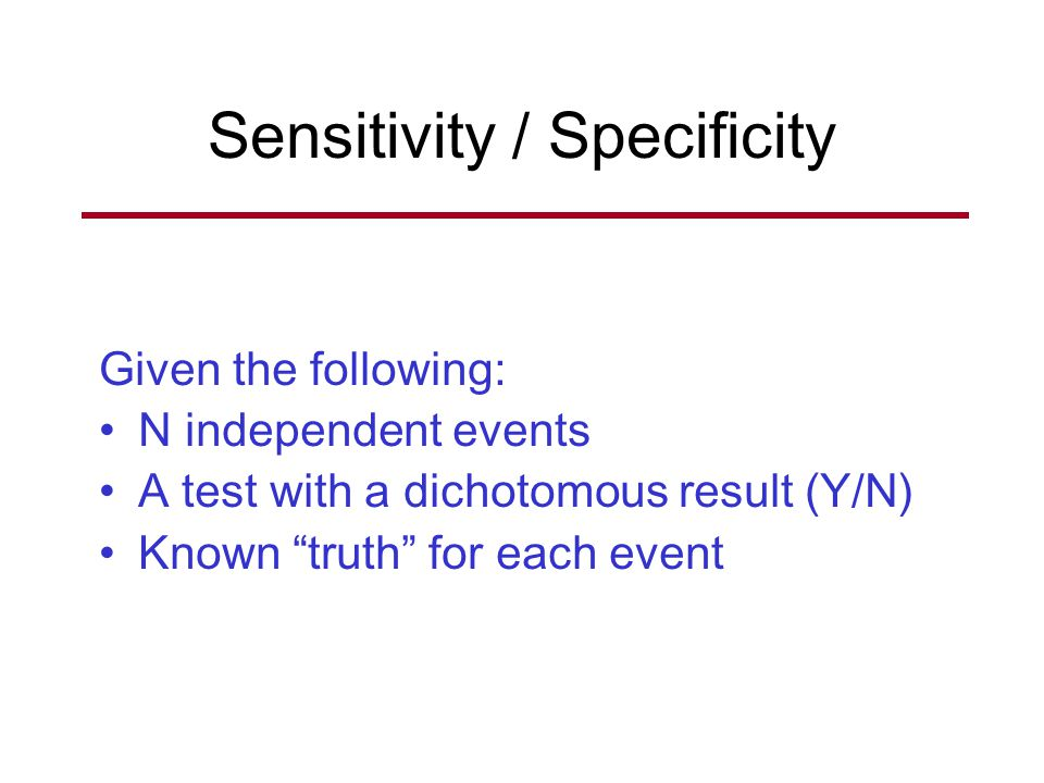Sensitivity / Specificity