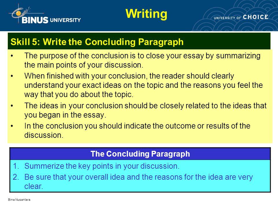 Concluding an essay