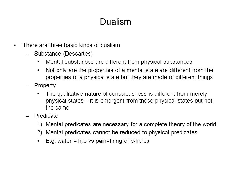 dualism and dualistic interactionism Once again, the dualist's breakdown of the world is both more internally   between mental and physical states is precisely what interactionism requires.
