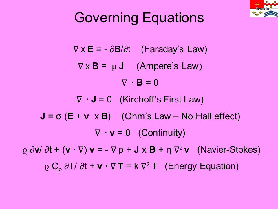Governing Equations ∇ x E = - ∂B/∂t (Faraday's Law)