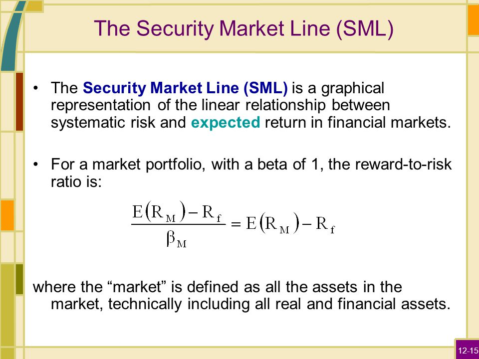security market line You can figure the slope of the security market line with a simple formula in excel the sml is the slope defined by the capital asset pricing model that shows the relative riskiness of stocks .