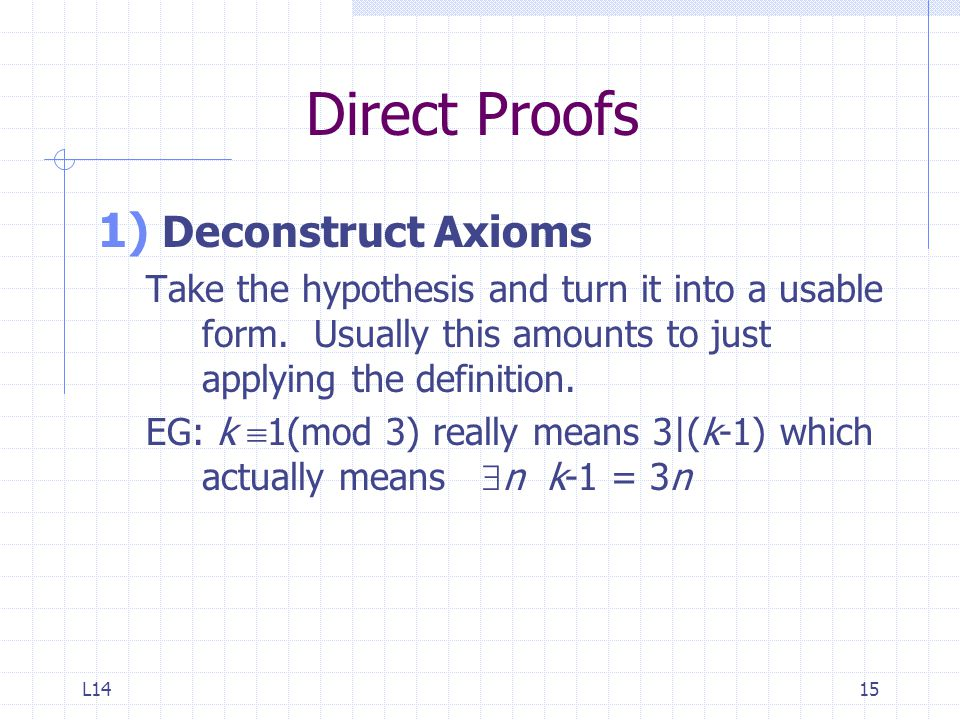 Direct Proofs Deconstruct Axioms