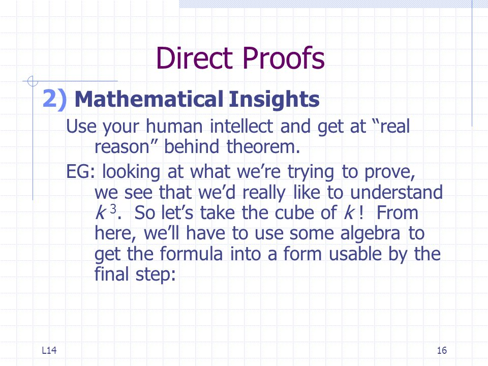 Direct Proofs Mathematical Insights