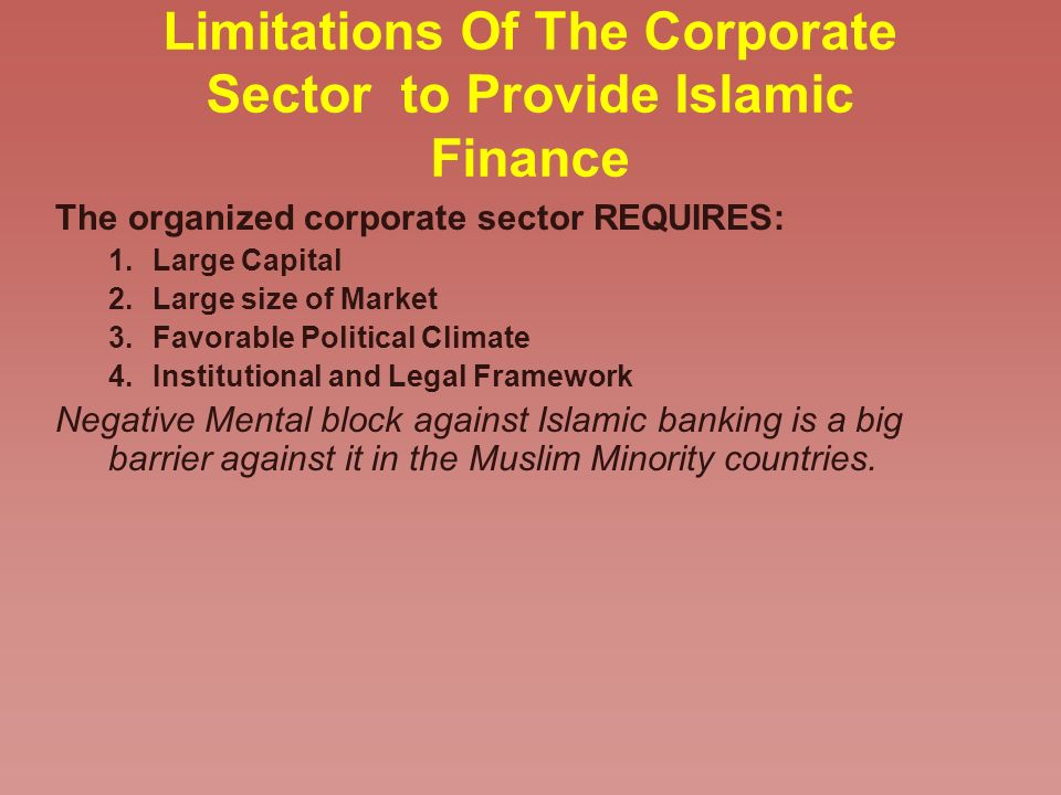 Limitations Of The Corporate Sector to Provide Islamic Finance