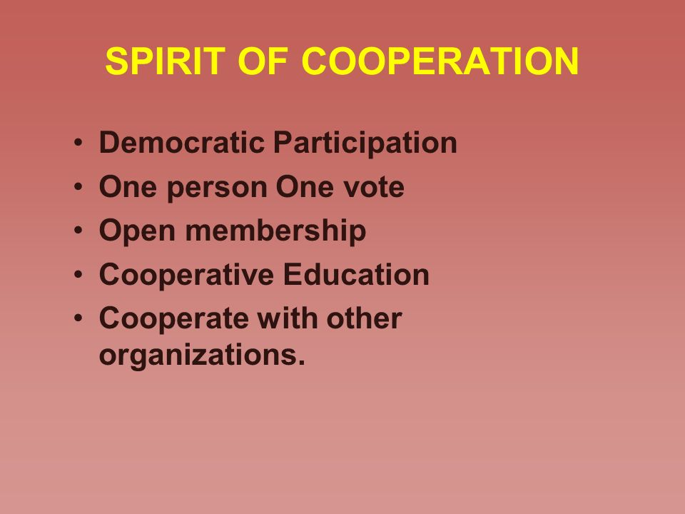 SPIRIT OF COOPERATION Democratic Participation One person One vote