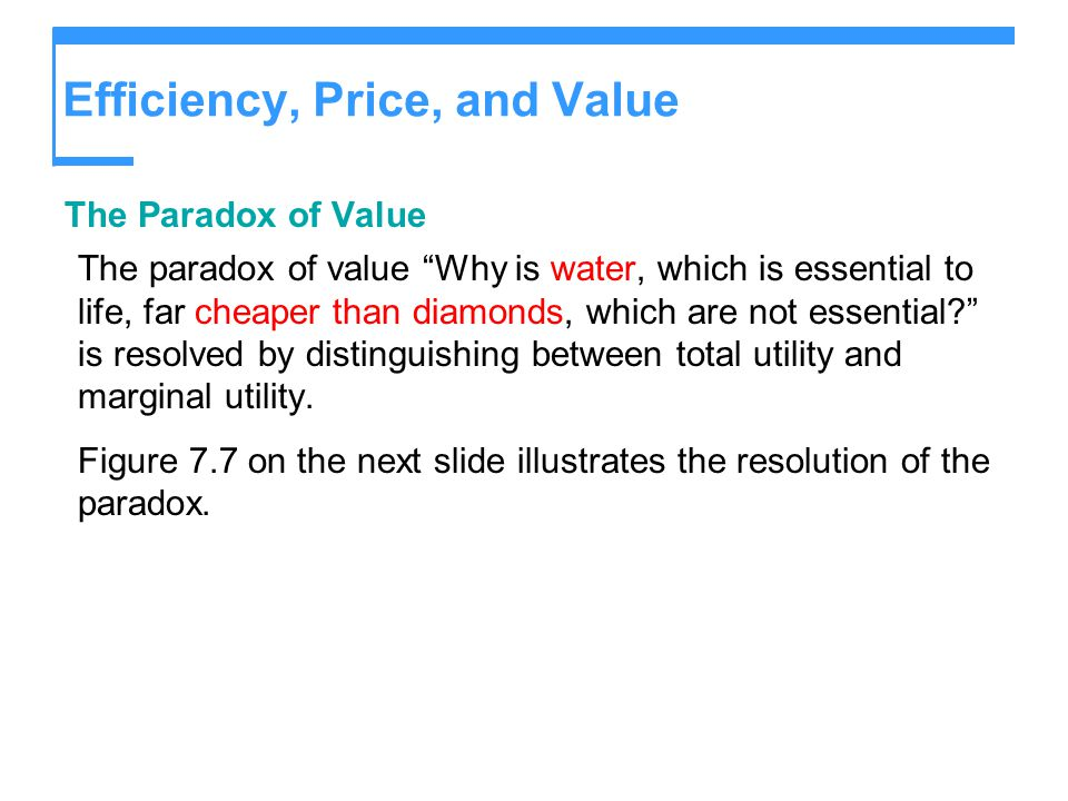 Efficiency, Price, and Value