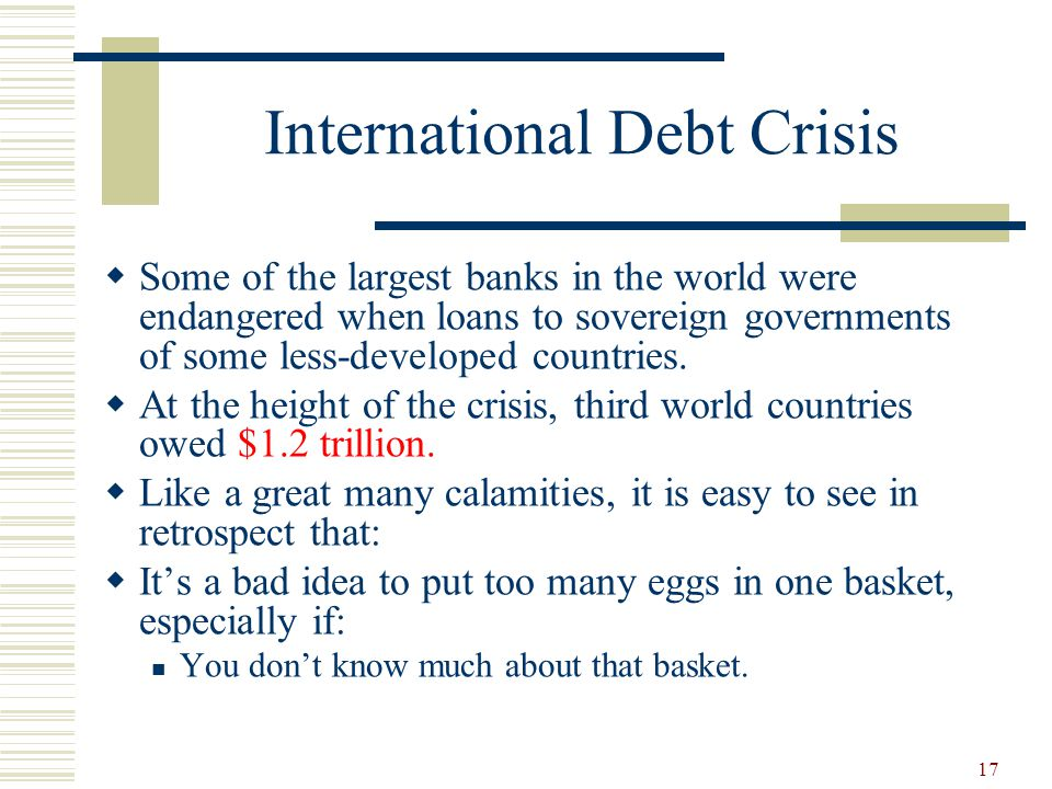 """international debt crisis During the latin american debt crisis of the 1980s—a period often referred to as the """"lost decade""""—many latin american countries became unable to service their foreign debt the federal reserve and other international institutions responded to the crisis with a number of actions that ultimately helped alleviate the situation, albeit."""