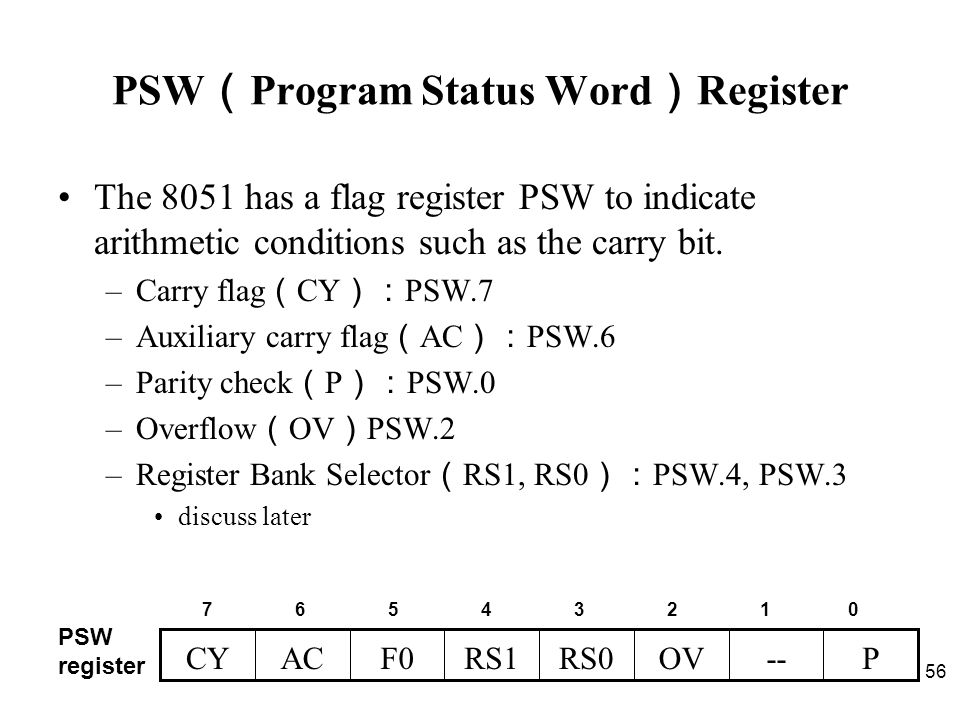 Chapter 2 the 8051 assembly language programming ppt download pswprogram status wordregister ccuart Images
