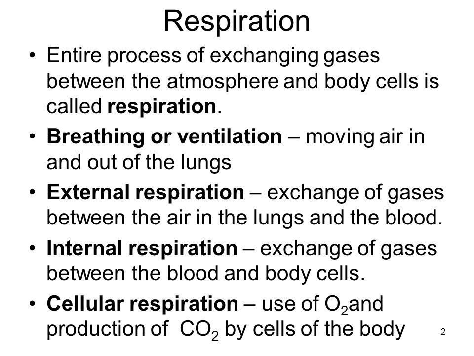 Respiration Entire process of exchanging gases between the atmosphere and body cells is called respiration.