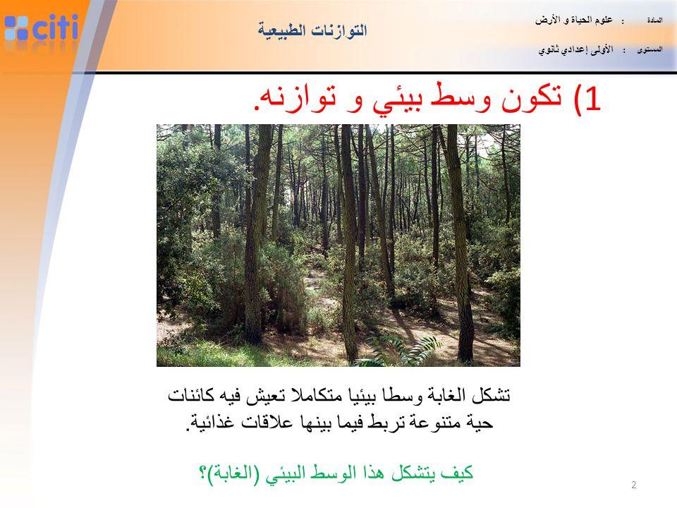 تكون وسط بيئي و توازنه. تشكل الغابة وسطا بيئيا متكاملا تعيش فيه كائنات
