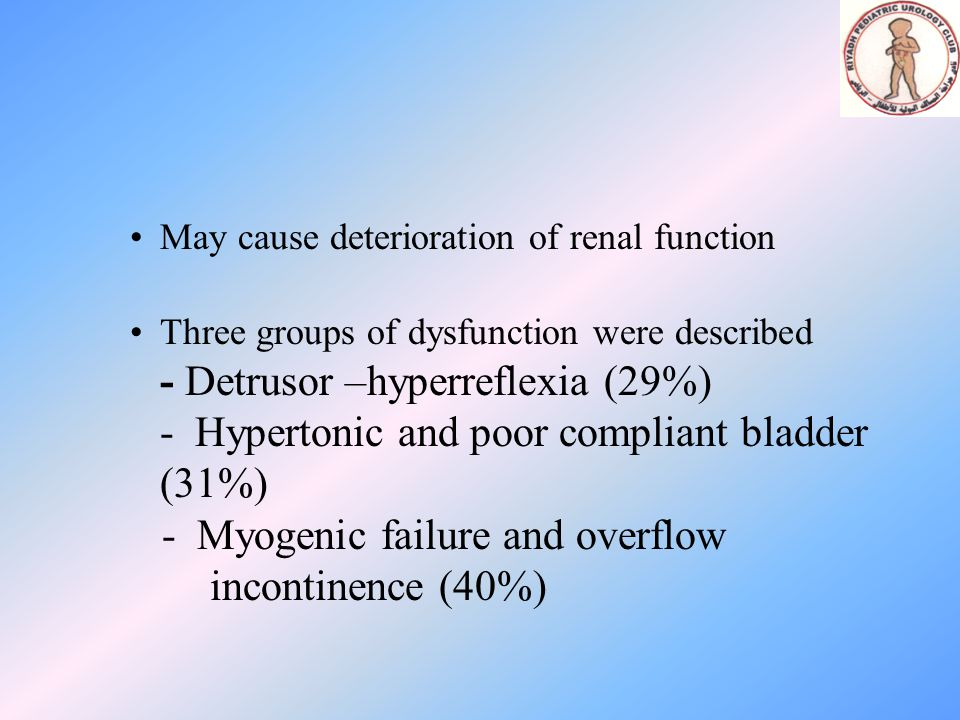 - Myogenic failure and overflow incontinence (40%)