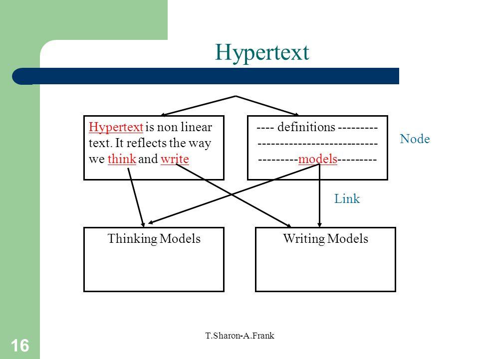 Hypertext Hypertext is non linear text. It reflects the way