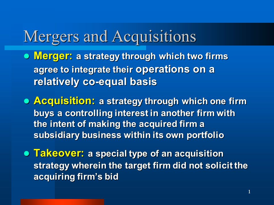 Mergers And Acquisitions  Ppt Download